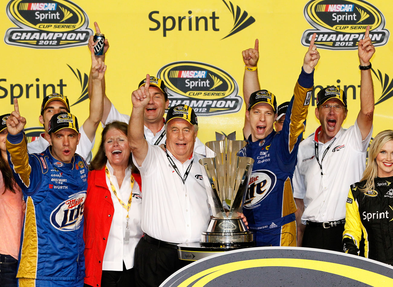 BRAD CELEBRATES THE 2012 SPRINT CUP SERIES CHAMPIONSHIP WITH HIS TEAM.